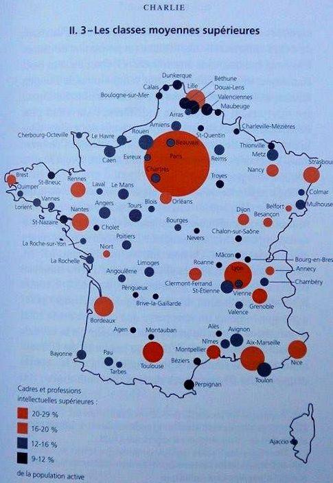Carte des classe moyennes supérieures établie par Emmanuel Todd dans Qui est Charlie ? (p. 75)