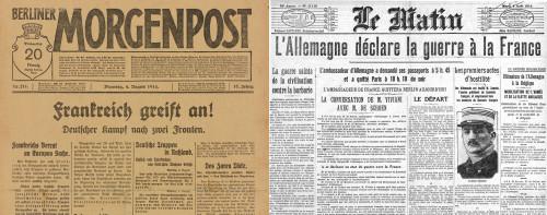 """Titelseite der """"Berliner Morgenpost"""" am 4. August 1914 : """"Frankreich greift an !"""", DHM, DG 90/6403.14 / Titelseite der """"Matin"""" am 4. August 1914 : """"L'Allemagne déclare la guerre à la France"""", BNF"""