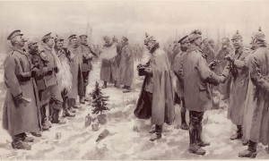 "Diese Zeichnung vom Weihnachtsfrieden erschien am 9. Januar 1915 in der Illustrated London News mit der Bildunterschrift: ""Saxons and Anglo-Saxons fraternising on the field of battle at the season of peace and goodwill: Officers and men from the German and British trenches meet and greet one another—A German officer photographing a group of foes and friends.""  Bild: public domain"