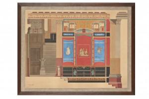 Vestibule - coupe sur la largeur au 1/10e de la Maison Pompéienne d'Alfred Normand