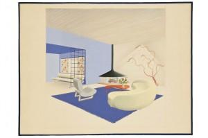 Projet pour le hall d'un chalet à Megève. Jean Royère (1902-1981). France, 1953-1956. Crayon et gouache sur papier.  Inv. 49070 © Les Arts Décoratifs