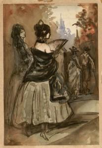 Deux jeunes espagnoles. Constantin Guys (1802-1892) France, XIXe siècle. Plume, lavis, encres et aquarelle. Inv. 34715 © Les Arts Décoratifs