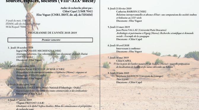 """Séminaire """"mondes sahariens"""". Séance du jeudi 16 MAI 2019"""
