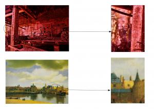 """Composition polychrome fondée sur l'analogie visuelle et textuelle entre le """"petit pan de mur jaune"""" à droite dans le tableau de Vermeer et la légère nuance de jaune sur le bord gauche de la photographie de Li Huai."""