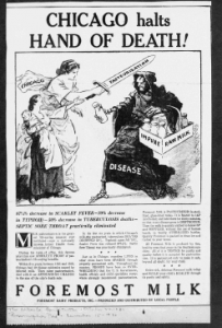 "Fig.7. ""Chicago Halts Hand of Death"". Publicité pour Foremost Milk. The Atlanta Constitution, Octobre 1930. Source : J. Walter Thompson Company. 35mm Microfilm Proofs, 1906-1960 and undated. Reel 9."