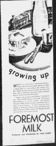 "Fig. 16. ""Growing Up"". Publicité pour Foremost Milk. 1929-1930. Source : J. Walter Thompson Company. 35mm Microfilm Proofs, 1906-1960 and undated. Reel 9."