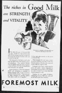 "Fig.6. ""Strength and Vitality"". Publicité pour Foremost Milk. 1929-1930 J. Walter Thompson Company. 35mm Microfilm Proofs, 1906-1960 and undated. Reel 9."