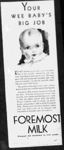 Fig. 3. Publicité pour Foremost Milk, 1929-1930. J. Walter Thompson Company. 35mm Microfilm Proofs, 1906-1960 and undated. Reel 9.
