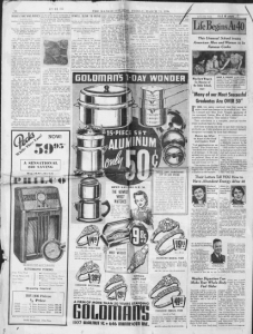 "Fig.14a. ""Many of our most Successful Graduates are over 50"". Publicité pour Fleischmann's Yeast (série ""Life Begins at 40""). Kansas City Star, Friday, March 11, 1938 (détail). Source : J. Walter Thompson Company. 35mm Microfilm Proofs, 1906-1960 and undated. Reel 49."