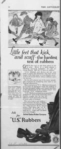 Fig.24. « Little feet that kick and scuff - the hardest test of rubbers ». SEP 10 novembre 1923, p.54 : l'émotional appeal est encore plus évident : le style naïf des illustrations et les adjectifs sont choisis pour attendrir la lectrice.