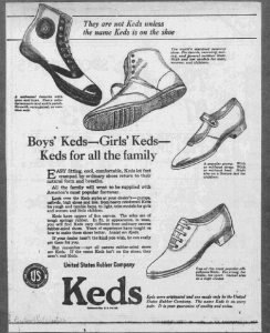 Fig.15. Boys'Keds - Girls's Keds. Keds for all the family. Publicité pour Keds' Shoes, Boston Post 23 juin 1922, p.4. Source : J. Walter Thompson Company. 35mm Microfilm Proofs, 1906-1960 and undated. Reels 38.