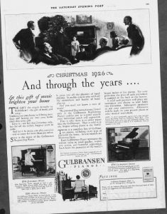 "Fig.2. ""And through the years..."". Publicité pour les pianos Gulbransen, Saturday Evening Post, 4 décembre 1926, p. 159. Source : J. Walter Thompson Company. 35mm Microfilm Proofs, 1906-1960 and undated. Reel 12."