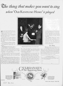 "Fig.5. Une pratique féminine. ""The thing that makes you want to sing when ""Old Kentucky Home"" is played. Publicité pour les pianos Gulbransen, Woman's Home Companion, mars 1926, p.173. Source : J. Walter Thompson Company. 35mm Microfilm Proofs, 1906-1960 and undated. Reel 12."
