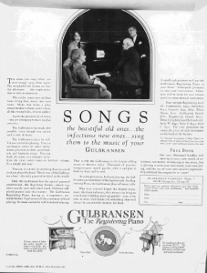 "Fig.6. Une pratique sénile. ""Songs...the beautiful old ones..."". Publicité pour les pianos Gulbransen, Woman's Home Companion, juillet 1926. Source : J. Walter Thompson Company. 35mm Microfilm Proofs, 1906-1960 and undated. Reel 12."