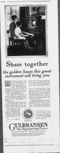 "Fig.10. ""Share together..."". Publicité pour pianos Gulbransen, Hollands, février 1927. Source : J. Walter Thompson Company. 35mm Microfilm Proofs, 1906-1960 and undated. Reel 12."