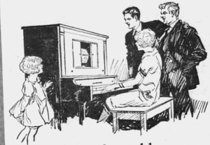 "Fig.1.a. Trop jeune encore, la petite fille est condamnée à écouter et observer les musiciens adultes. ""Bring the fine old songs into your home again..."". Publicité pour les pianos Gulbransen (détail), 1926. Source : J. Walter Thompson Company. 35mm Microfilm Proofs, 1906-1960 and undated. Reel 12."