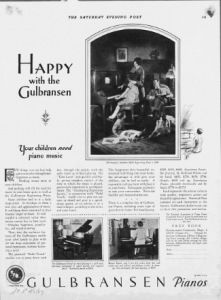 "Fig.8. ""Happy with the Gulbransen... Your children need piano music"". Publicité pour les pianos Gulbransen, Saturdary Evening Post, 1926. Source : J. Walter Thompson Company. 35mm Microfilm Proofs, 1906-1960 and undated. Reel 12."