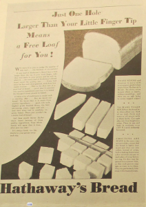 "Fig.1. ""Just one hole larger than your little finger tip means a free loaf for you!"" Publicité pour Hathaway Baking Co. Source : ""New Bread Idea Sends Hathaway Sales Up », JWT News, Mai 1930, p.2. Source : J. Walter Thompson Newsletter Collection, 1910-2005, Box OV1 (mars 1930-mars 1931)"