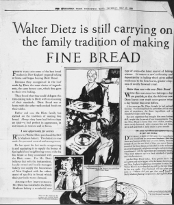 Fig.1 Walter Dietz is still carrying on the family tradition of making fine bread. Publicité pour Hathaway Baking Co. The Springfield Union, 27 mai 1926. Source : J. Walter Thompson Company. 35mm Microfilm Proofs, 1906-1960 and undated. Reel 12