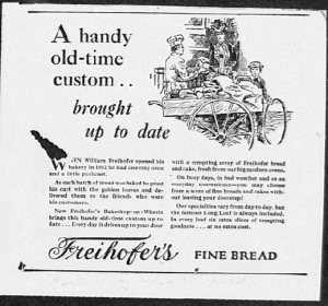 Fig.7. « A handy old-time custom brought up to date ». Publicité pour Freihofer's Fine Bread. Source inconnue, vers 1923. Source : J. Walter Thompson Company. 35mm Microfilm Proofs, 1906-1960 and undated. Reel 9