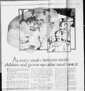 Fig.8 At every meal - between meals - children and grow ups alike must have it ». Publicité pour Freihofer's Fine Bread, Trenton Evening Times, 1er avril 1926, p17. Source : J. Walter Thompson Company. 35mm Microfilm Proofs, 1906-1960 and undated. Reel 9.
