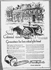 "Fig.11. ""Since colonial times… ». Publicité pour Freihofer's Fine Bread,  Philadelphia Inquirer, octobre 1925. Source : J. Walter Thompson Company. 35mm Microfilm Proofs, 1906-1960 and undated. Reel 9."