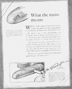 Fig.12. « What the name means ». Publicité pour Freihofer's Fine Bread, Philadelphia Ledger,  24 mai 1923. Source : J. Walter Thompson Company. 35mm Microfilm Proofs, 1906-1960 and undated. Reel 9.