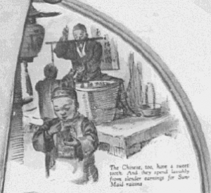"Fig.44a ""Only Raisins supremely fine could win such world-wide favor"" (détail). Saturday Evening Post, 6 août 1927. Source : J. Walter Thompson Company. 35mm Microfilm Proofs, 1906-1960 and undated. Reel 36."