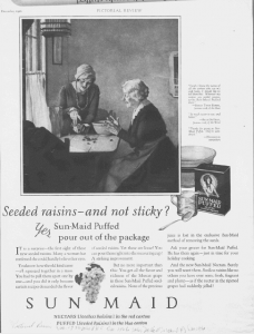 "Fig.24. ""Seeded Raisins - and not sticky"". Pictorial Review December 1926. Le style graphique et la composition imitent visiblement le tableau de Vermeer Fig.26."