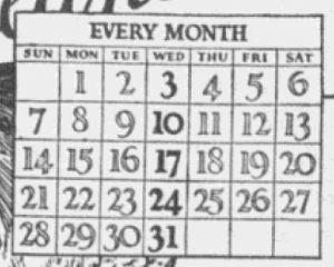 "Fig.4a.  ""Raisin Bread Wednesday has come to stay. Capitalize this new national habit"". National Grocers Bulletin. Mai 1924, p.38. Source : J. Walter Thompson Company. 35mm Microfilm Proofs, 1906-1960 and undated. Reel 35.Le calendrier a une fonction pratique et symbolique : il sert d'aide-mémoire et contribue à ritualiser la consommation du raisin gravant ce jour précis dans la semaine."