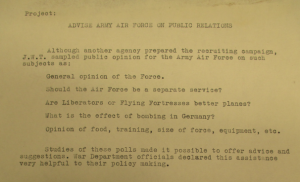 "Fig. ""Project - Advise Army Air Force on Public Relations""."