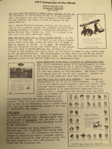 "Fig. 20 - ""JWT campaign - United Nations Day"".  The J.W.T News, 16 octobre 1950, Vol V no42, p.3. Source : J. Walter Thompson Company. Newsletter Collection, 1910-2005. Box MN9 (1945-1950)."