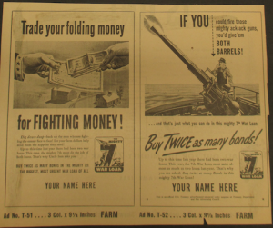 "Fig.37. ""If you could fire those mighty ack-ack guns, you'd give 'em both barrels!"" Affiche de propagande pour le ""Mighty 7th War Loan"". Source : J. Walter Thompson Company. World War II Advertising collection, 1940-1948 and undated. Box 2 (Oversize) ""War Bond Advertisements, 1942-1945 and n.d"""