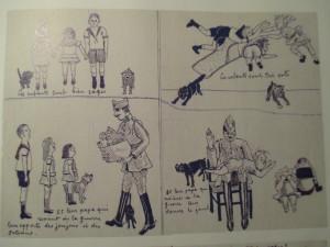 Fig.8. Dessin réalisé par le poilu Léon Pénet pour éduquer ses enfants par correspondance. La Grande Guerre en Bande dessinée. Beaux-Arts Magazine, 2014, p.34.