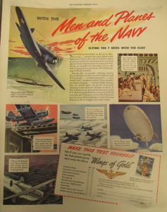 "Fig.66 - ""Men and Planes of the Navy"". The Saturday Evening Post - nd. Source : J. Walter Thompson Company. World War II Advertising Collection, 1940-1948 and undated. Box 2 - Government Policies and Agencies Campaigns, 1941-1945 (Folder 1/2)"