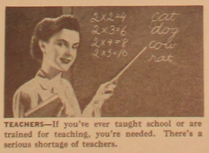 "Fig.73B - ""Teachers"". Fig. 73 - ""America Needs Women Like you in War Jobs"" (détail). Source inconnue, non datée. Source : J. Walter Thompson Company. World War II Advertising Collection, 1940-1948 and undated. Box 2 - ""America Recruiting Women for War-Related Work, 1944 and undated"""