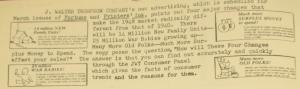 """Fig. 88 - """"JWT Thompson'w own advertising"""" - The J.W.T News. 23 février 1948, vol.III, no8, p.2. Source : J. Walter Thompson Company. Newsletter collection, 1910-2005. Box MN9 (1945-1950). Cette publicité vante les services de de l'agence JWT elle-même en citant précisément des chiffres indiquant l'évolution démographique de la société américaine dans deux directions opposées : hausse des naissances pendant la guerre et rajeunissement d'un côté (25 millions war babies ; 14 millions NEW families) et vieillissement de la population de l'autre de l'autre, estimé avec moins d'exactitude (many more old folks)."""