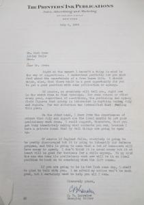 """Fig. 16 - Lettre de C.B. Larrabee - Managing Editor, Printers' Ink Publications. 8 juillet 1940. Source : Crow, Carl (1883 - 1945), Papers, 1913-1945, """"Correspondence Series"""", Folder 174 (1940, July). The State Historical Society of Missouri. Manuscript Collections, C41. Dans sa lettre à Carl Crow, le rédacteur en chef de Printers' Ink lui conseille de ne pas tenter de poursuivre en solitaire sa carrière publicitaire mais plutôt de s'associer avec d'autres ou de se faire employer par une compagnie existante."""