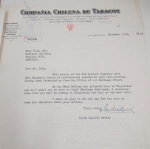 "Fig. 21 - Lettre d'une compagnie chilienne de tabac qui désire rencontrer Crow. Valparaiso, Chili, 11 novembre 1940. Source : Crow, Carl (1883 - 1945), Papers, 1913-1945, ""Correspondence Series"", Folder 177 (1940, October - November)."