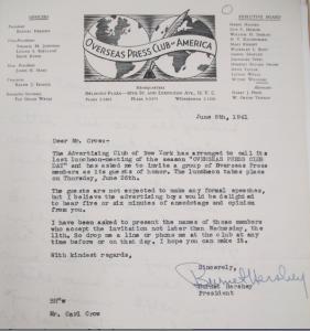 "Fig. 11 -  Lettre de l'Overseas Press of Americas 6 juin 1941. Crow, Carl (1883 - 1945), Papers, 1913-1945, ""Correspondence Series"", Folder 184 (1941, June). The State Historical Society of Missouri. Manuscript Collections, C41. Comme l'Advertising Club of New York, Carl Crow figure dans la liste des invités de marque de l'association 'Overseas Press of Americas'."