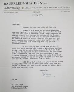 """Fig. 19 - Lettre d'un agent de Bauerlein-Shaheen, Inc. Advertising, Local, Regional and National Campaigns, 9 juin 1941. Source : Crow, Carl (1883 - 1945), Papers, 1913-1945, """"Correspondence Series"""", Folder 184 (1941, June). The State Historical Society of Missouri. Manuscript Collections, C41. Cette lettre atteste que Carl Crow est toujours dans les affaires et qu'il mène une carrière plus internationale que jamais internationale : est ici mentionnée son implication aux Etats-Unis (Chicago) et en Chine, tandis que son collègue est actif également en Inde, à Berlin, Stockholm et l'Amérique du Sud (J.Walter Thompson à Buenos Aires)."""