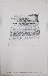 "Fig.10b - Publicité ancienne (1903) pour Tiffany & Company envoyée à Crow par Harpers Lettre. 24 novembre 1942, p.3/3. Source : Crow, Carl (1883 - 1945), Papers, 1913-1945, ""Correspondence Series"", Folder 196 (1942  November 20 - December 22). The State Historical Society of Missouri. Manuscript Collections, C41."