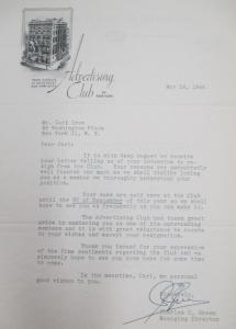 """Fig.7 - Lettre de l'Advertising Club of New York regretting Crow's resignation regrettant que Carl Crow ait décidé de quitter le Club, 16 mai 1944. Source : Crow, Carl (1883 - 1945), Papers, 1913-1945, """"Correspondence Series"""", Folder 206 (1944 May-June). The State Historical Society of Missouri. Manuscript Collections, C41. Cette lettre suggère que Crow envisage de se retirer progressivement de la profession publicitaire et de se placer à l'écart de ses mondanités. Toutefois, les regrets exprimés par l'association prouvent qu'il fait partie des personnalités les plus en vue dans les milieux d'affaires."""