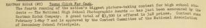 """Fig. 110 - """"Kodak - Teens clicks for cash"""" - The J.W.T News. 3 janvier 1949, vol.IV, no.1, p.2. Source : J. Walter Thompson Company. Newsletter collection, 1910-2005. Box MN9 (1945-1950). La compagnie Kodak choisit de sponsoriser un concours de photographie pour lycéens pour gagner le cœur des jeunes consommateurs."""