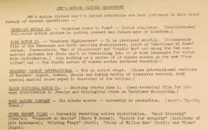 """Fig. 121 -""""JWT Motion Picture Department - Ward Baking Co - Tip-Top Bread"""" - The J.W.T News. 2 juin 1947, vol.2, no.22, p.2. Source : J. Walter Thompson Company. Newsletter collection, 1910-2005. Box MN9 (1945-1950)."""