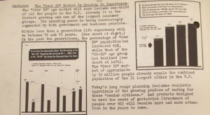 """Fig. 136 - """"Research - The 'Over 50' Market is Growing In Importance"""" - The J.W.T News. 3 juillet 1950, vol.V, no.27, p.2. Source : J. Walter Thompson Company. Newsletter collection, 1910-2005. Box MN9 (1945-1950). Comme pour les jeunes, les enquêtes et les recherches sur les consommateurs âgés se multiplient après la guerre, confortant l'émergence du troisième âge (third age) en germe dès l'entre-deux-guerres dans les publicités pour Fleischmann' Yeast notamment. Cette enquête précise que la tranche d'âge des plus de 50 ans représente désormais 1/3 de la population américaine et qu'elle est celle qui connaît la plus forte croissance (notamment par opposition à la catégorie 20-50 ans qui décline). En soulignant que le pouvoir d'achat des plus de 50 ans ne cesse d'augmenter grâce aux pensions accordées par le gouvernement, cette note suggère que cette catégorie d'âge promet de juteux profits."""