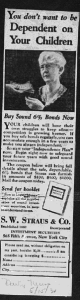 "Fig. 146 - ""You don't want to be dependent on your children"". Publicité pour la banque G.W. Straus & Co., Daily News, 15 mai 1930. J. Walter Thompson Company. 35mm Microfilm Proofs 1906-1960 and undated. Reel 35."
