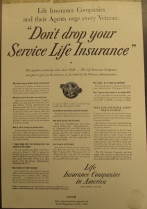 "Fig. 144 - Life Insurance Companies and their Agents urge every Veteran: 'Don't drop your Service Life Insurance'"". Publicité pour Life Insurance Companies. Trade Magazine, July 1946. Source : J. Walter Thompson Company. Domestic Advertisements collection 1875-2001 and undated, bulk 1920s-1990s. Institute of Life Insurance. Box IL2 (1946-1953)."