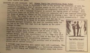 """Fig.  - """"Two battle to win"""" - """"Institute for Life Insurance - Brakes Timely New Advertising Theme Today"""" - The J.W.T News. 14 août 1950, vol.V, no.33, p.1. Source : J. Walter Thompson Company. Newsletter collection, 1910-2005. Box MN9 (1945-1950). There are two essentials to winning a war. One is victory in the field. The other is not to let ourselves be bled death economically. Les compagnies d'assurance radicalise leur rhétorique et ressuscitent le war appeal pour l'appliquer à la lutte contre l'inflation dans l'après-guerre. Dans le sillage de la Seconde Guerre mondiale à peine achevée, les civils sont de nouveau mobilisés dans une guerre totale d'un genre nouveau, à dominante économique et idéologique. Les deux fronts de la Guerre froide (front militaire """"classique"""" à l'extérieur et front économique et idéologique en interne) sont incarnés par les deux silhouettes dos à dos d'un soldat et d'un civil. L'inflation est le grand ennemi : d'autant plus insidieux et plus difficile à combattre qu'il mine de l'intérieur l'économie et la société américaine."""
