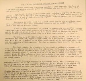 """Fig. - """"4A - ANA Campaign on American Economic System"""" - The J.W.T News. 28 avril 1947, vol.2, no.17, p.4. Source : J. Walter Thompson Company. Newsletter collection, 1910-2005. Box MN9 (1945-1950). La propagande nationale se poursuit au-delà de la guerre : la campagne ANA a un double objectif : rendre les citoyens fiers de leur pays (en valorisant le modèle économique américain) pour les inciter à participer à l'accroissement de la productivité nationale. Les deuxième et troisième campagne s'adressent plus précisément au grand public et à l'Américain moyen : l'enjeu est de leur inculquer des principes économiques de base et de leur faire prendre conscience de l'intérêt de sécuriser le marché sans pour autant entraver sa liberté."""
